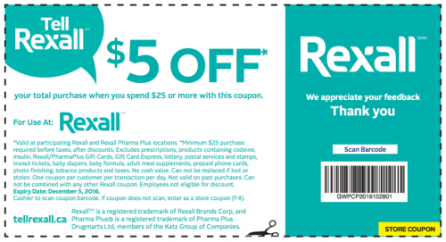 Rexall PharmaPlus Canada Coupon: Save $5.00 Off Your $25 Purchase + Flyers Deals!