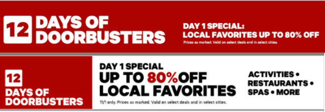 Groupon Canada 12 Days Of Doorbusters: Today, Save up to 80% On Select Local Favorites Deals