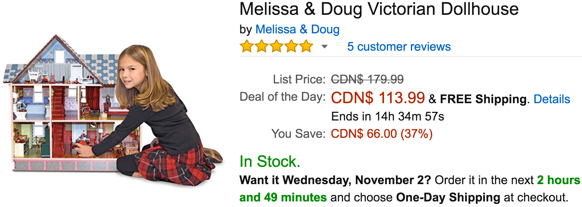 Amazon Canada Deals Of The Day: Save 37% On Melissa & Doug Victorian Dollhouse, 28% on Evenflo Infant Car Seat