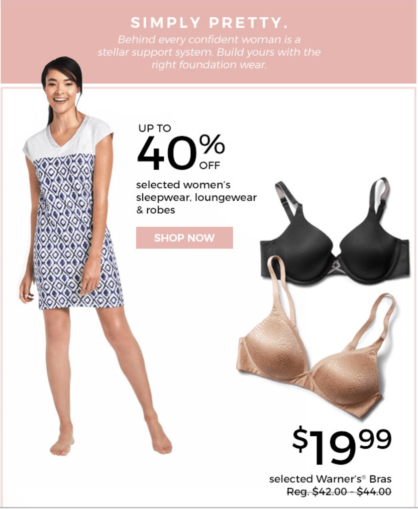 Sears Canada 3-Days Sale: Save 55% Off Select Warner's Bras, 44% Off Select Playtex Bras, 65% On Bed & Bath Items & More Offers
