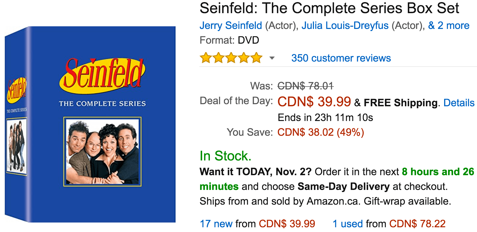 Amazon Canada Deals Of The Day: Save 49% On Seinfeld: The Complete Series Box Set, 71% on Anker 40W/8A 5-Port USB Charger & More Offers