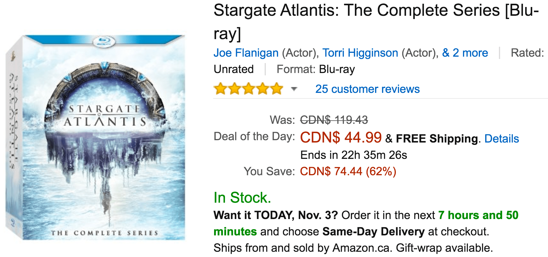 Amazon Canada Deals Of The Day: Save 62% On Stargate Atlantis: The Complete Series & More Offers
