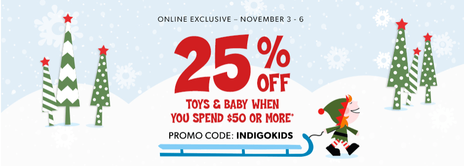Indigo Canada Offers: Save 25% Off Toys and Baby Items With Promo CodeI