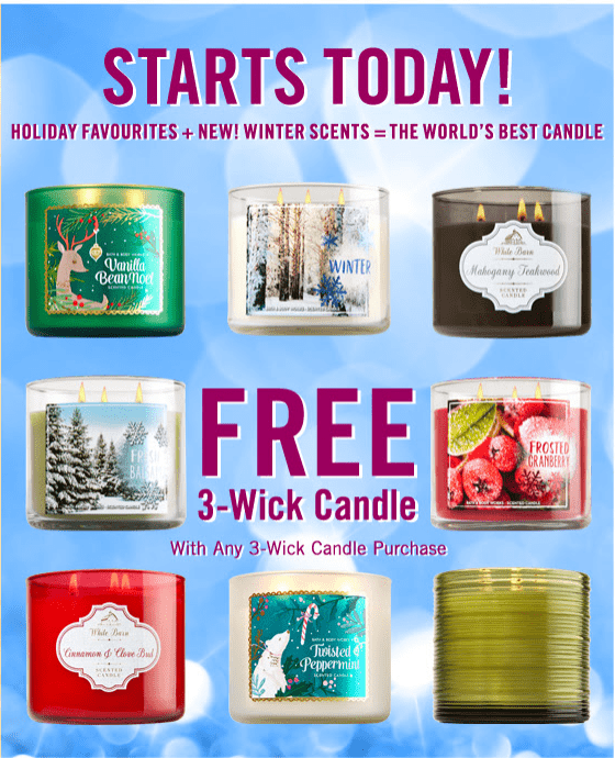 Bath & Body Works Canada Promotions: Buy 1 Get 1 FREE 3-Wick Candle, Save 30% Off Any $30 Purchase & More Deals!