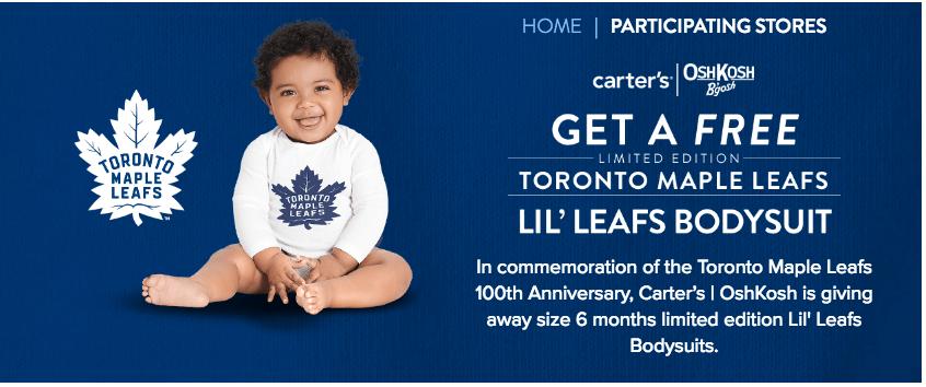 Carter's OshKosh B'gosh Canada FREEBIE: Get a FREE Toronto Maple Leafs Lil' Leafs Baby Bodysuit *HOT*