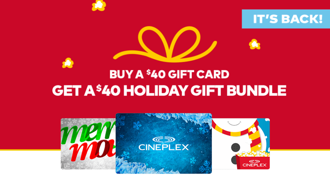Cineplex Canada Promotions: FREE $40 Holiday Gift Bundle When You Buy A $40 Cineplex Gift Card