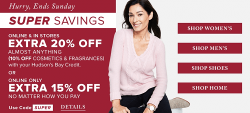Hudson's Bay Canada Deals: Save an Extra 15% Off ALL Orders & 20% Off With Hudson's Bay Credit Card + More!