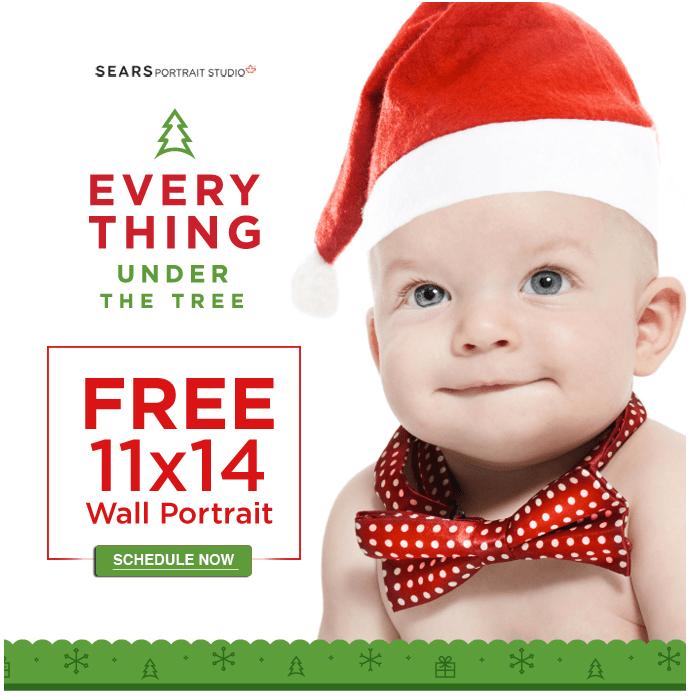 Sears Portrait Studio Coupon: FREE 11 x 14 Wall Portrait