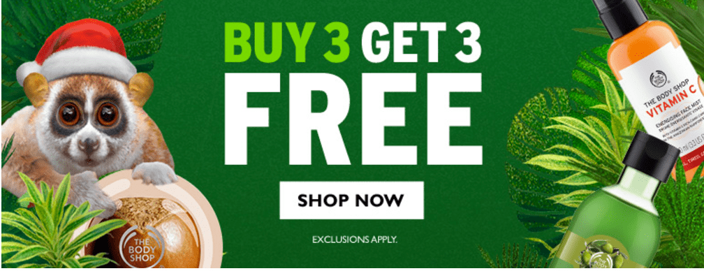The Body Shop Canada Offerts: FREE Shipping, Buy 3 Get 3 FREE, FREE Body Butter when You Spend $65 & More Deals!