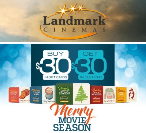 Landmark Cinemas Canada Merry Movie Season Deals: Buy a $30 Gift Card, Get FREE $30 in Coupons!