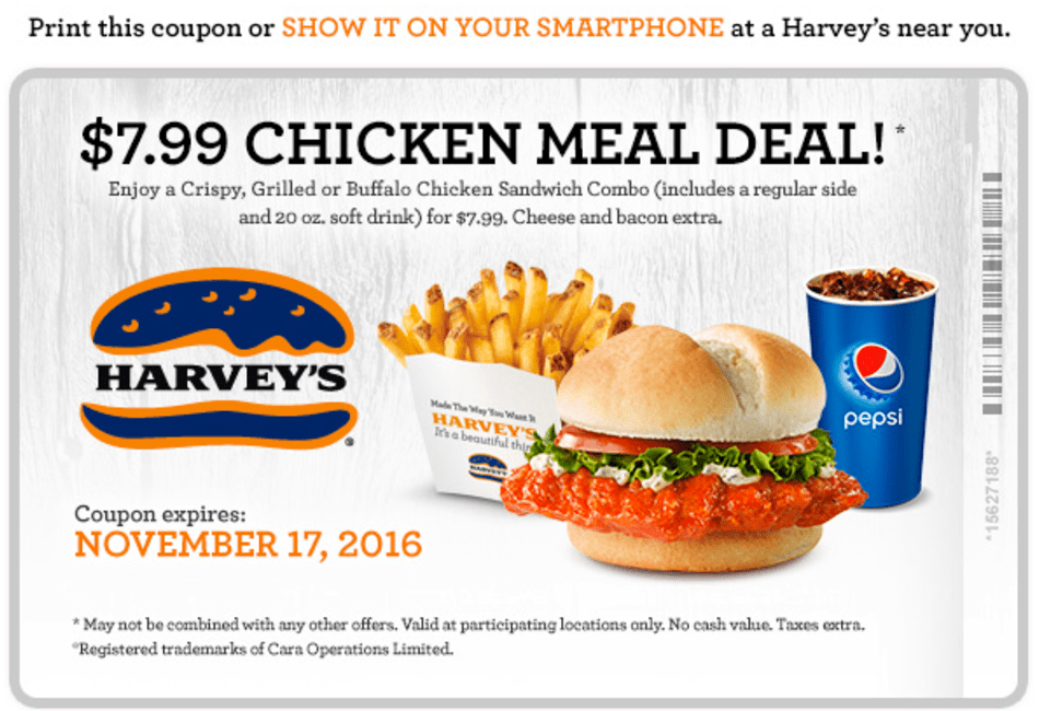 Harvey's Canada Coupons: $7.99 Chicken Meal Deal!