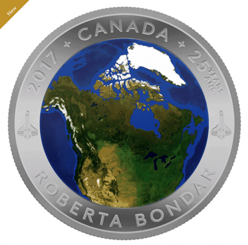 Royal Canadian Mint New 2017 Coin: Pure Silver Glow-in-the-Dark Coin – View of Canada From Space