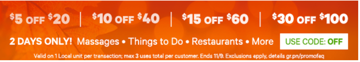 Groupon Canada Offers: Save $5 Off $20, $10 Off $40, $15 Off $60 & $30 Off $100
