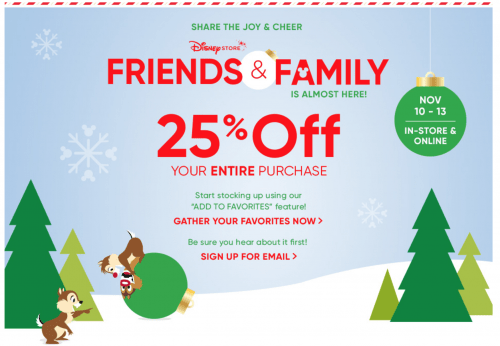 Disney Store Canada Friends and Family Sale: Save 25% off Your Entire Purchase!