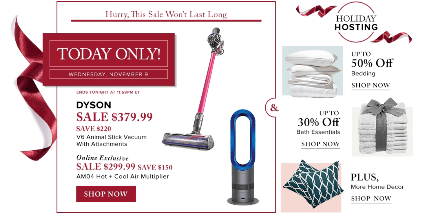 Hudson's Bay Canada Pre Black Friday One-Day Sale: Save $220 Off DYSON V6 Animal Stick + $150 Off Air Multiplier, Today + Extra 25% Off Sale Items with Coupon!