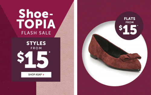 Le Château Canada Shoe-Topia Flash Sale: Shop Many Shoe Styles From Only $15!