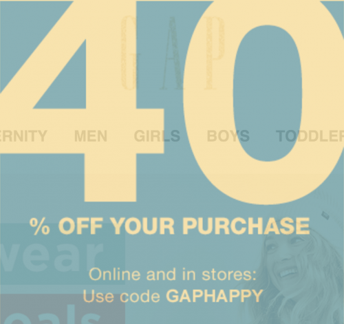Gap Canada Deal: Today Only Save 40% Off with Promo Code