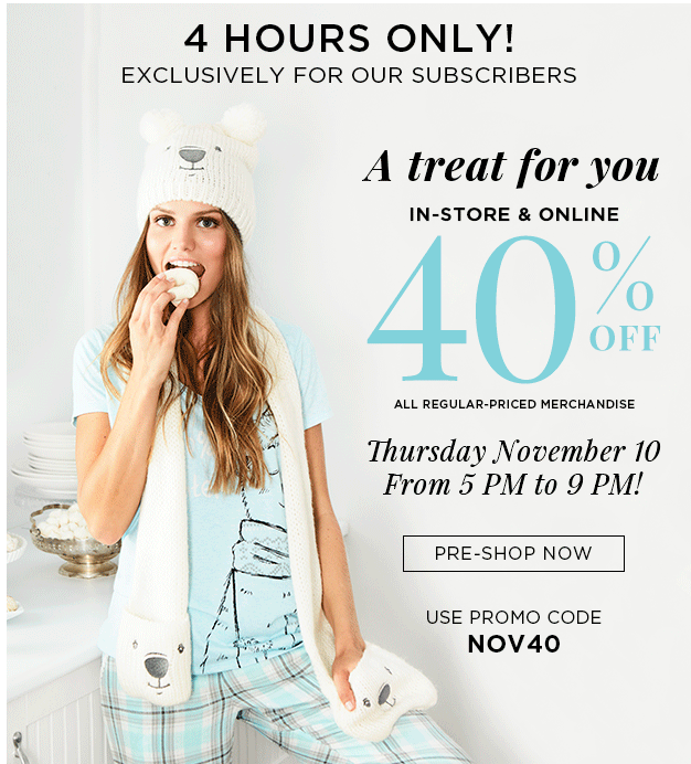 la Vie en Rose Canada Sale: Save 40% Off All Regular-Priced Merchandise 5 – 9 pm Today