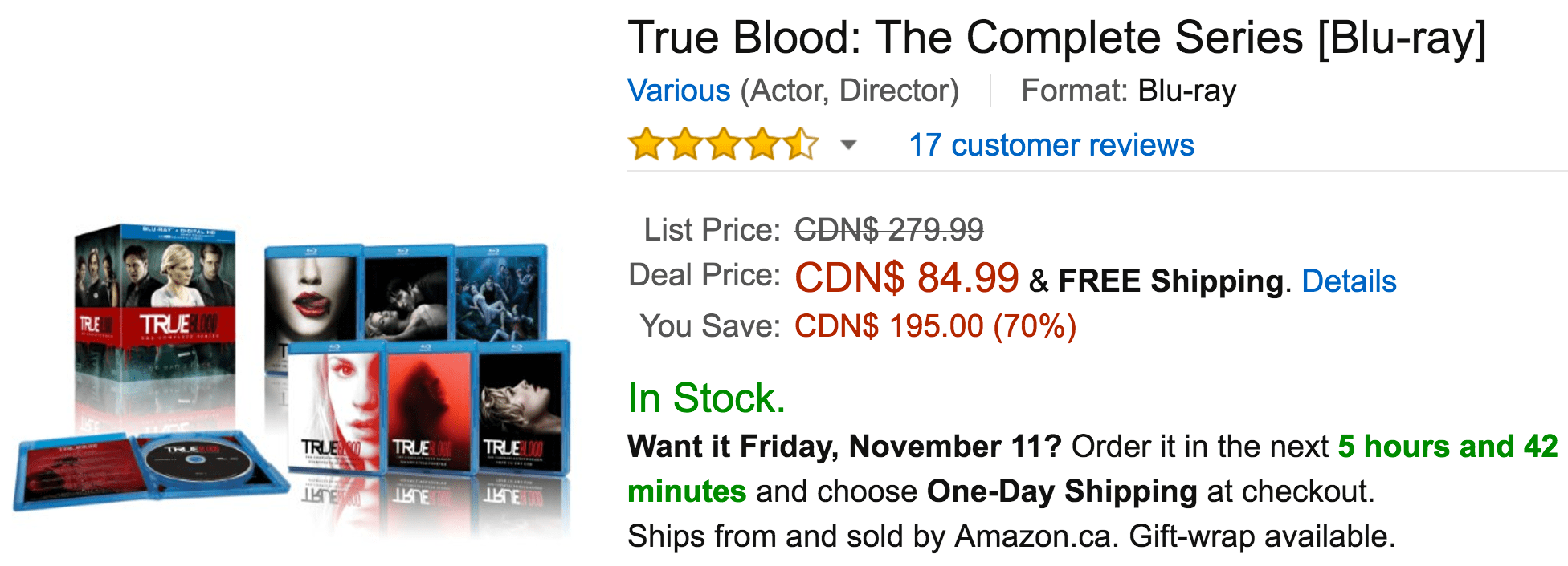 Amazon Canada Black Friday Today's Deals: Save 70% On True Blood: The Complete Series, 56% On Angel: The Complete Series, 49% on Simon Air Game & More Offers