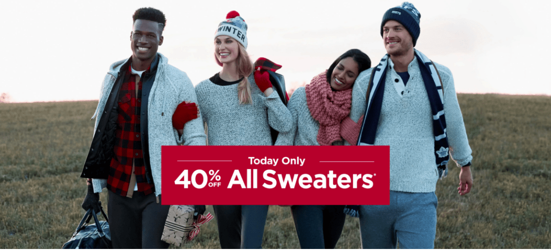 Roots Canada Sale: Today Only Save 40% Off All Sweaters!