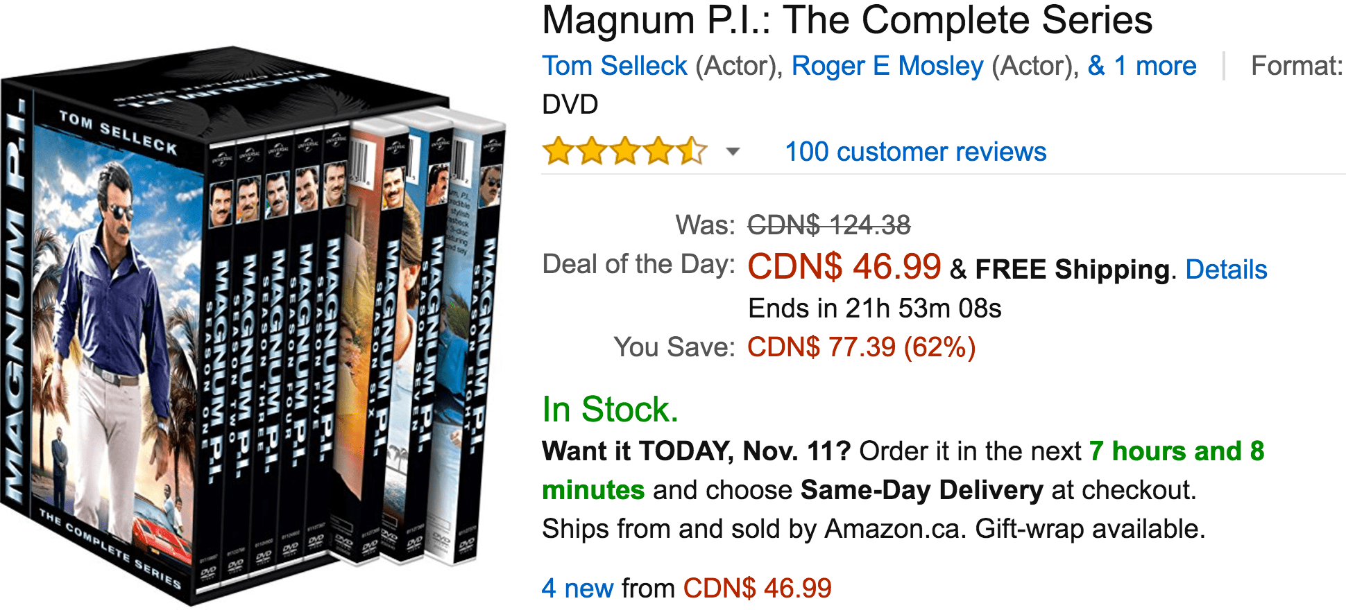 Amazon Canada Black Friday Today's Deals: Save 62% On Magnum P.I.: The Complete Series, 35% on Bissell Little Green Proheat Portable Deep Cleaner & More Offers