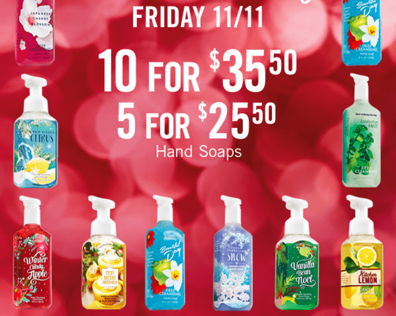 Bath & Body Works Canada Coupons: Save 20% Off Your Entire Purchase,Hand Soaps, 10 for $35.50 or 5 for $25.50