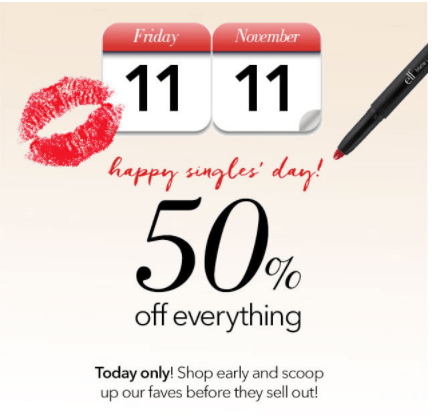 e.l.f Cosmetics Offers: Save 50% Off Everything Sitewide with Coupon Code