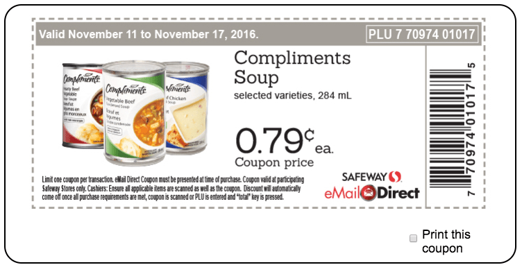Safeway, Sobeys Canada Weekly Coupons: Compliments Soup, for$0.79 each, Naturally Simple Quick Cook Steel Cut Oats, for $1.99 & More Deals