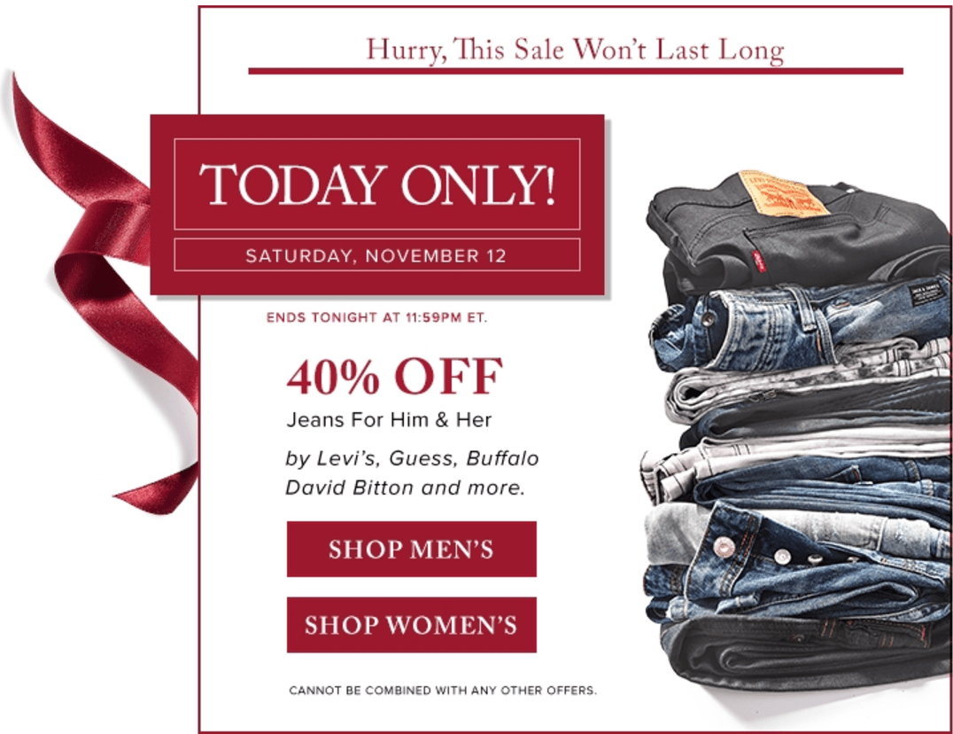 Hudson's Bay Canada Today's Offers: Save 40% Off Jeans By Levi's, Guess, Buffalo David Bitton & Extra 15% Off With Promo Code