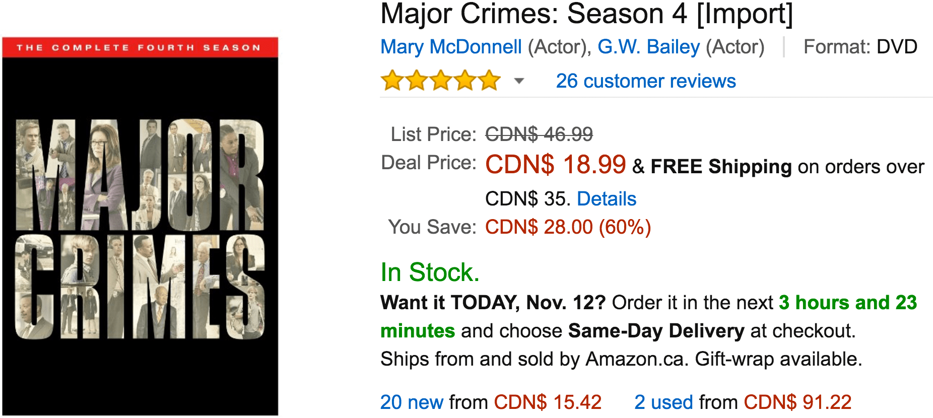 Amazon Canada Black Friday Today's Deals: Save 60% On Major Crimes: Season 4, 45% On JOOLA Rally TL 300 Table Tennis Table with Corner Ball Holders and Magnetic Scorers & More Offers
