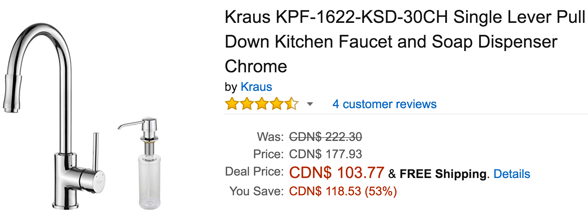 Amazon Canada Black Friday Today's Deals: Save 53% On Kraus Single Lever Pull Down Kitchen Faucet, 36% On 21ft 30 Led Outdoor Ball Lights & More Offers