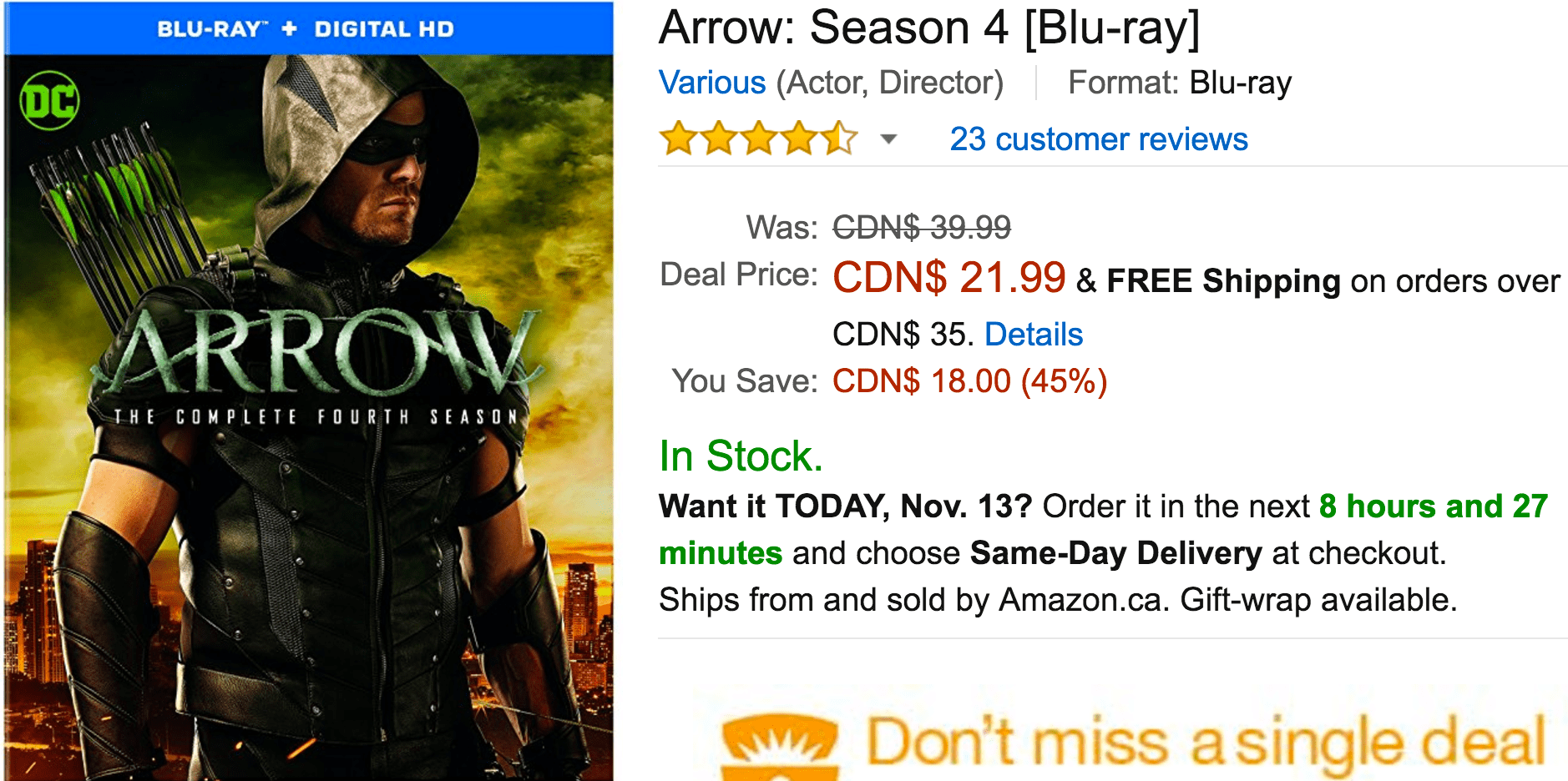 Amazon Canada Black Friday Today's Deals: Save 45% On Arrow: Season 4, 42% on Miracle-Gro AeroGarden Ultra Pod Kit & More Offers