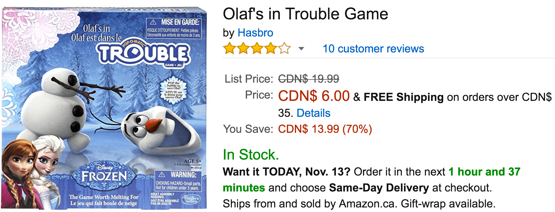 Amazon Canada Today's Deals: Save 70% On Olaf's in Trouble Game, 30% On VTech Baby Lil' Critters Musical Glow Gym & More Offers