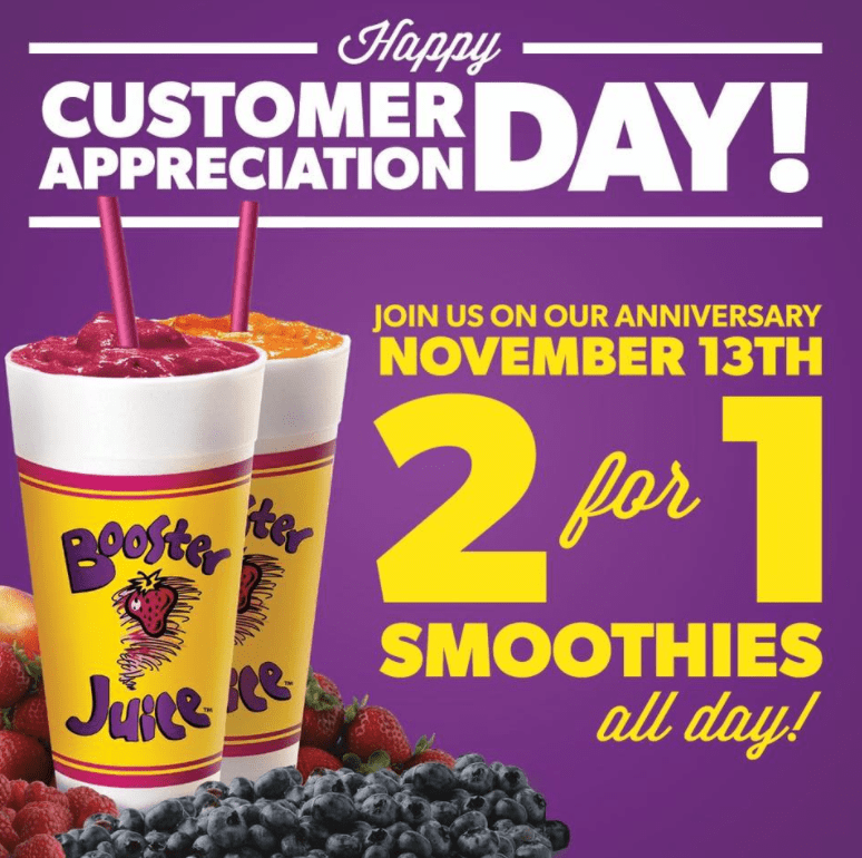 Booster Juice Canada Customer Appreciation Day Promotion: 2 for 1 Smoothies All Day, Today