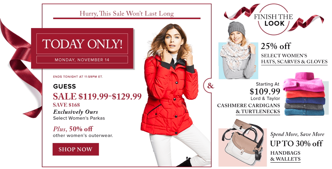 Hudson's Bay Canada Pre Black Friday 1-Day Sales: Save 50% Off Women's Outerwear, 58% Off Women's Parkas by Calvin Klein, Guess & More, Today Only!