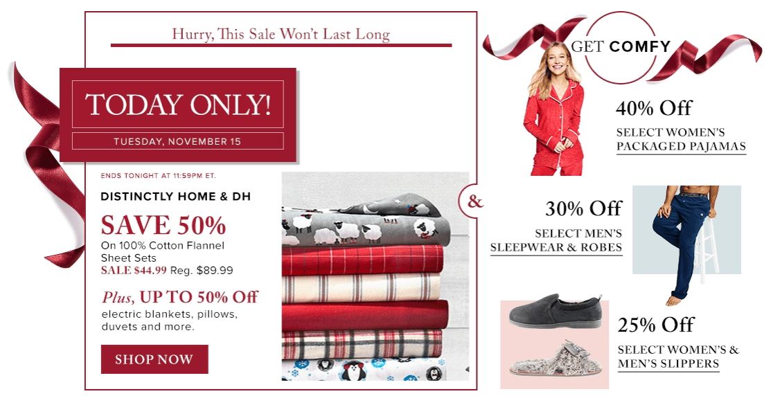 Hudson's Bay Canada Pre Black Friday 1-Day Sales: Save 50% on Cotton Flannel Sheet Sets + 50% Off Select Electric Blankets, Pillows, Duvets & More
