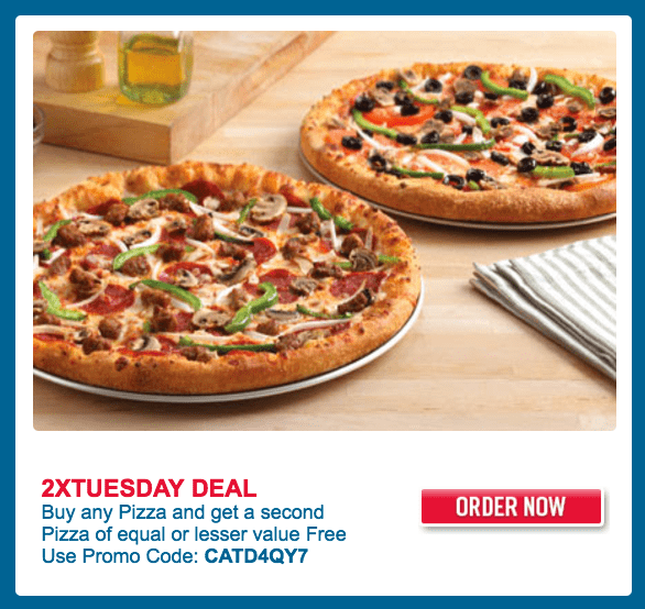 Domino's Pizza Canada Offers:Buy any Pizza and Get a Second Pizza of Equal or Lesser Value FREE & More Deals
