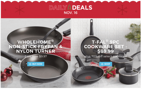 Sears Canada Daily Deals: Save 70% Off Cookware + $150 Off 9-Piece T-Fal Set + 33% Off 2-Pack Non-Stick Frypan with Turner