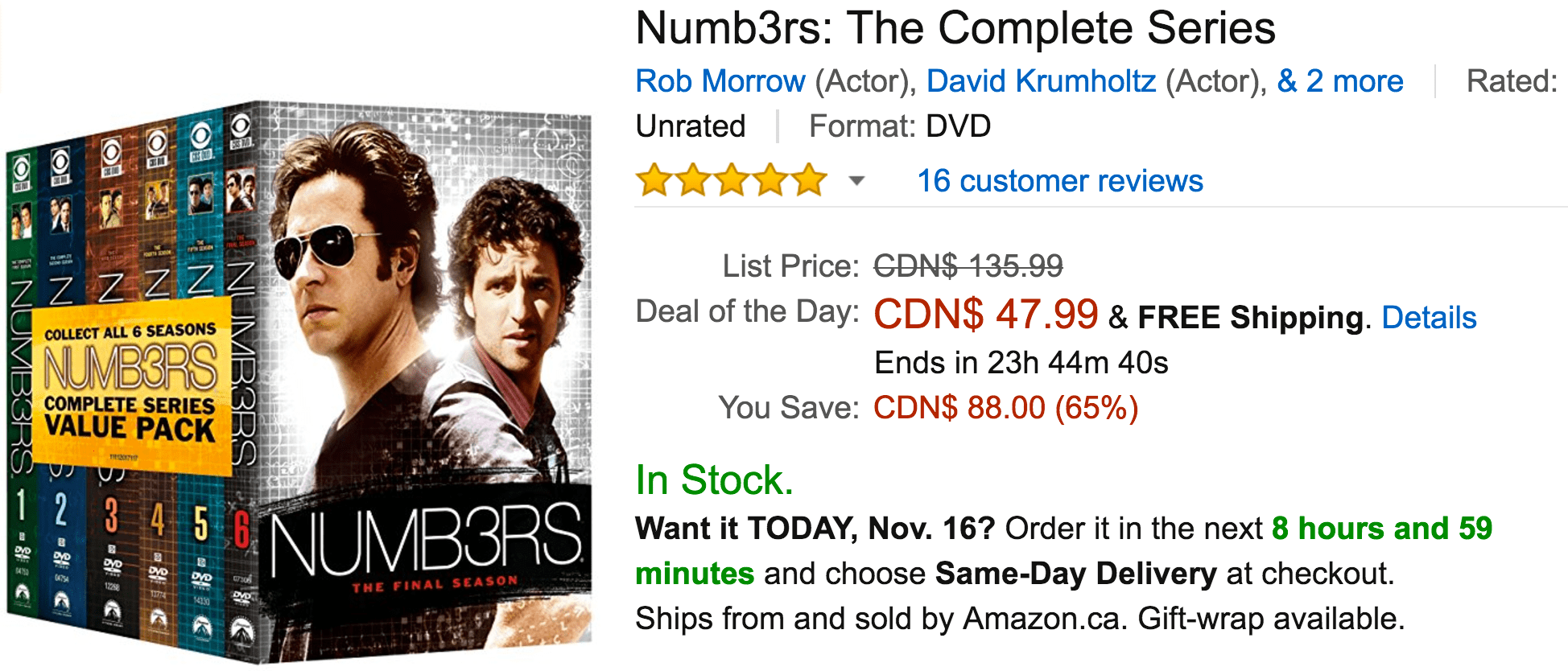 Amazon Canada Black Friday Deals: Save 65% On Numb3rs, 55% on Columbo & 50% Off Select Alex Toys Brands