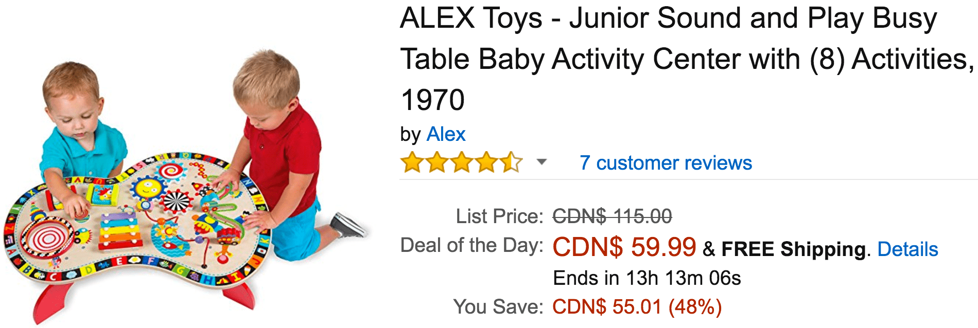 Amazon Canada Black Friday Deals: Save 48% On ALEX Toys – Junior Sound and Play Busy Table Baby Activity Center & More Offers