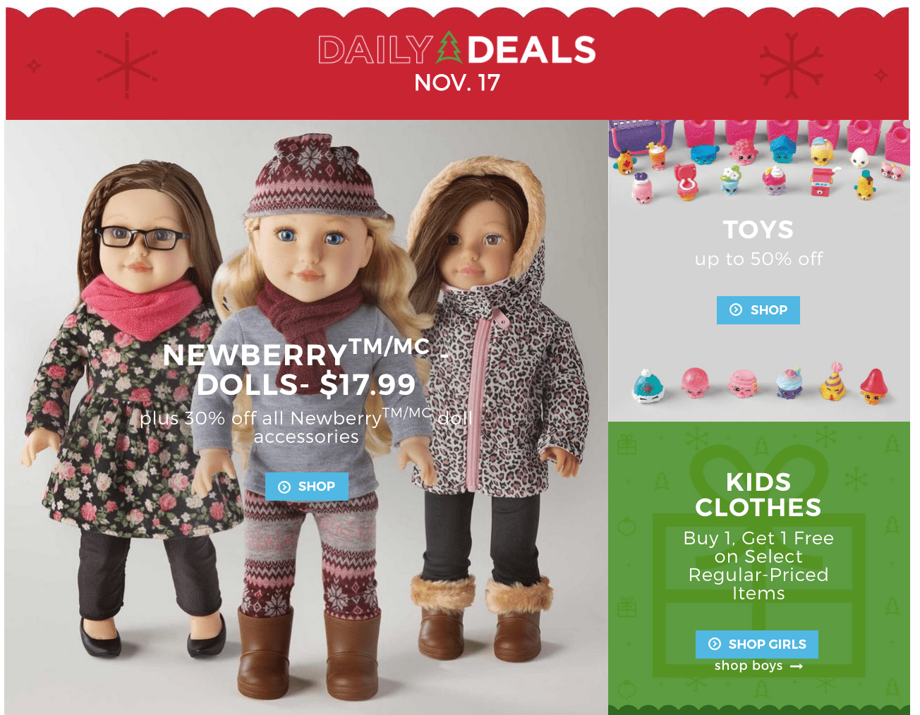 Sears Canada Daily Deals: $17.99 Newberry Dolls + Up to 50% Off Toys + Up to 70% Off Cookware + More!