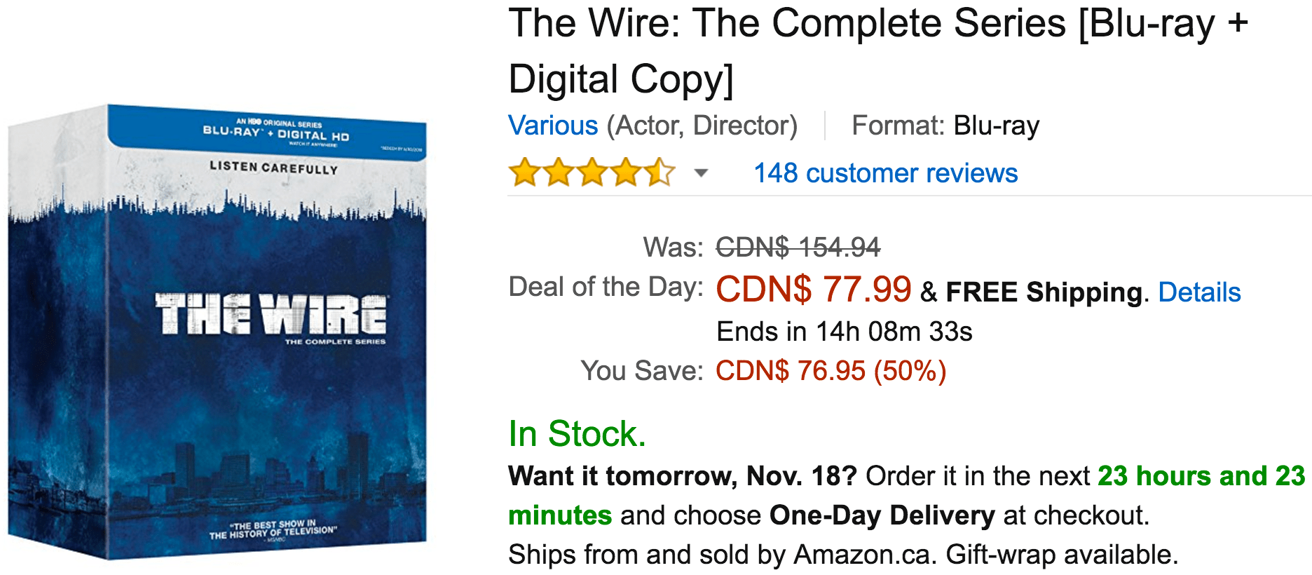 Amazon Canada Black Friday Deals: Save 54% On The Wire: The Complete Series