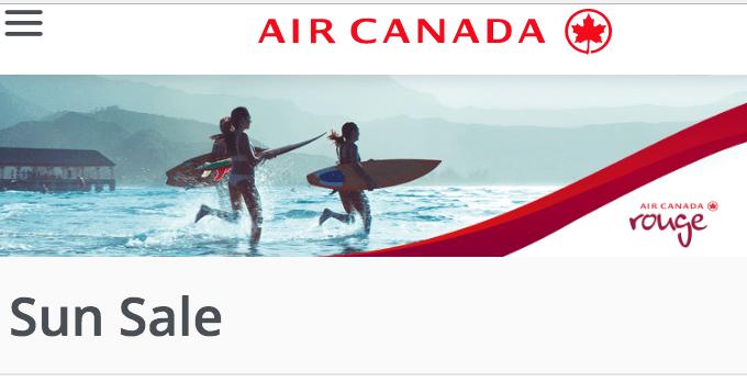 Air Canada Sun Flight/Tickets Seat Sale: Save 15% on Tango Base Fares to Sun Destinations