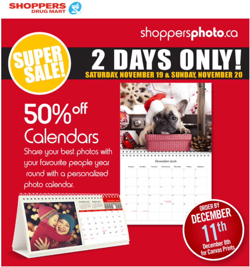 Shoppersphoto.ca 2-Days Sale: Save 50% Off Calendars, Greeting Cards, Ornaments & More Offers!
