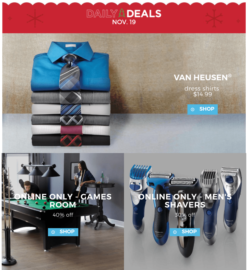 Sears Canada Daily Deals: Dress Shirts Only $14.99 + Save 30% Off Men's Shavers + 40% Off Game's Room