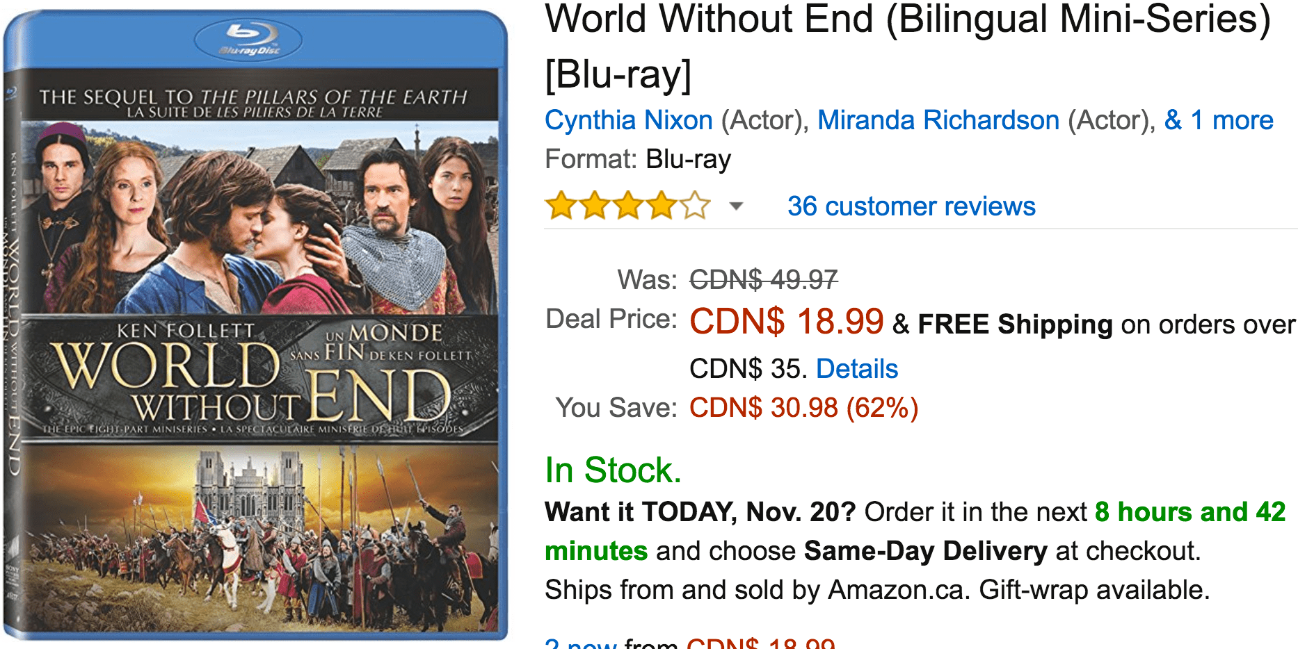 Amazon Canada Black Friday Deals: Save 62% on World Without End, 55% on The Pillars of the Earth, 30% on Select Hoverboards, Scooters and Skateboards & More Offers