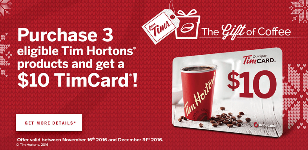 Tim Hortons Canada The Gift Of Coffee Deal: Get a $10 TimCard!