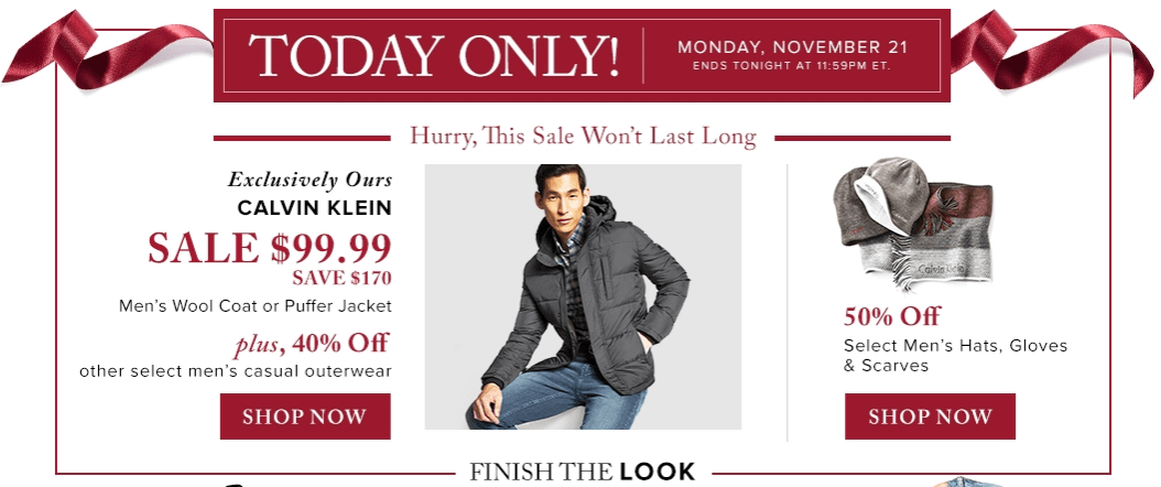Hudson's Bay Canada Black Friday 1-Day Sales: Save 63% off Calvin Klein Men's Outerwear, 40% Off Other Outerwear & 50% Off Hats, Gloves & Scarves!