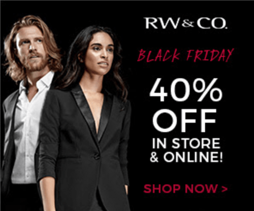 RW&CO. Canada Black Friday Sale: Save 40% Off Today Only