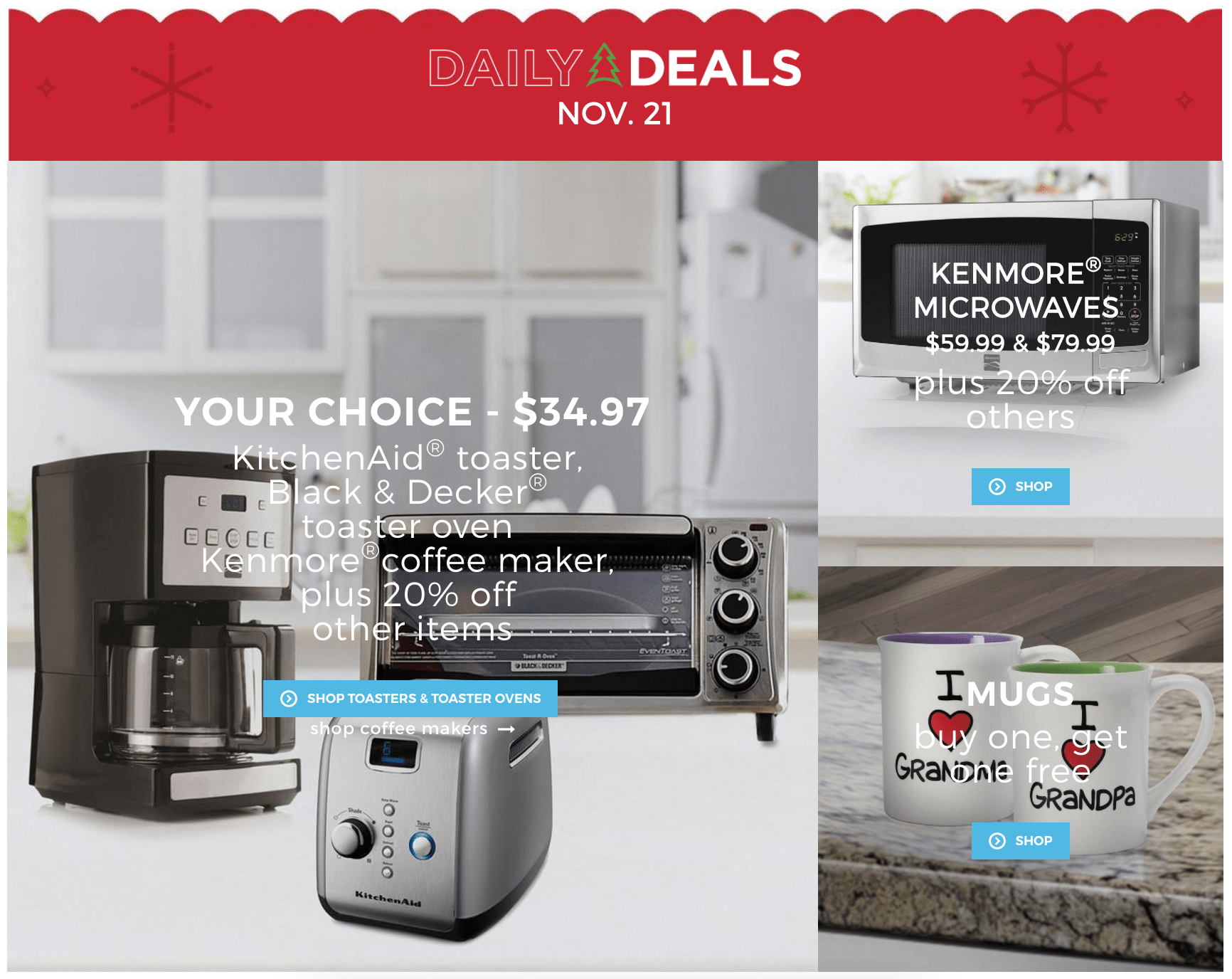Sears Canada Daily Deals: Save 65% Off KitchenAid® Toaster + Save on Toaster Ovens, Coffee Makers & Microwaves + Mugs Buy 1 Get 1 FREE!